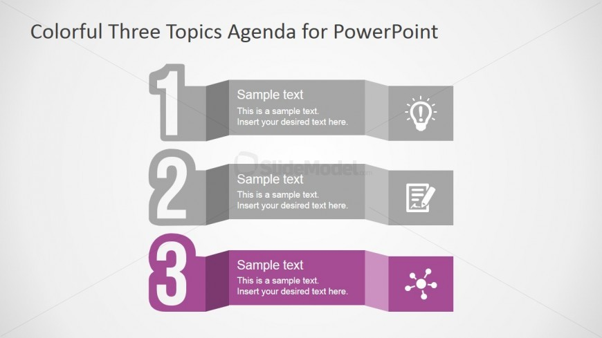 Agenda of Three Steps for PowerPoint