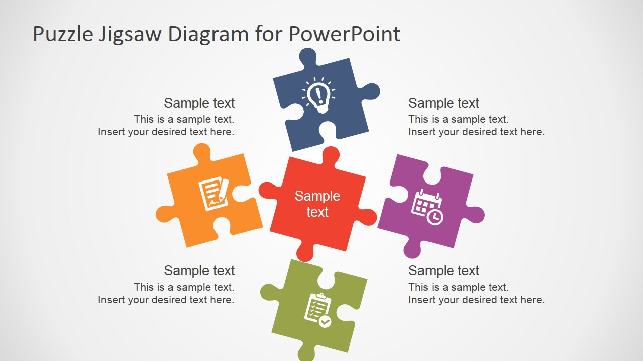Free flat puzzle jigsaw powerpoint diagram slidemodel ppt template 5 pieces toneelgroepblik Gallery