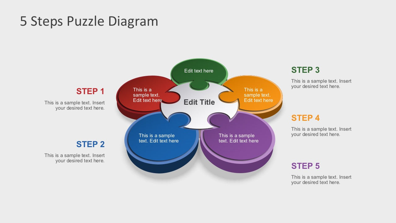 Free 5 steps puzzle diagram for powerpoint Diagram drawing software free download
