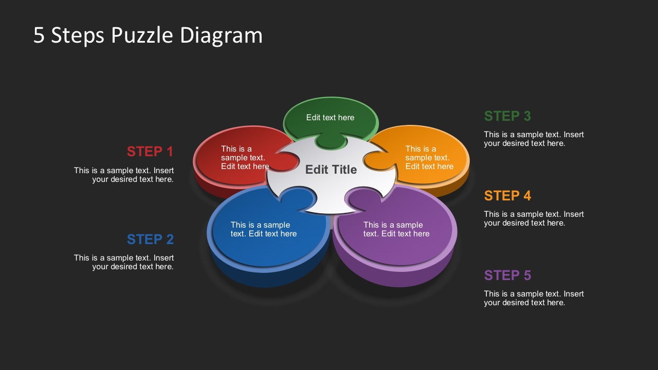 Free 5 Steps Puzzle Diagrams In Dark PowerPoint Background