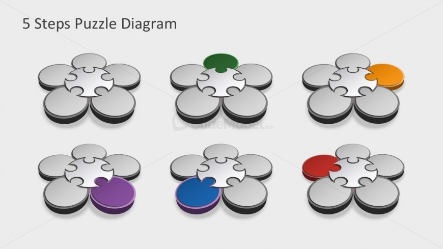 free 5 steps flower diagrams with editable shapes slidemodel