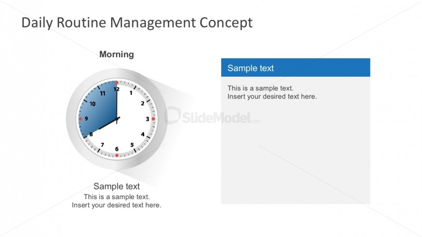 Free PowerPoint Analog Clock With Shadow Effect