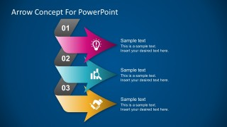 3 Step Colorful Chevron Arrow Diagrams PowerPoint