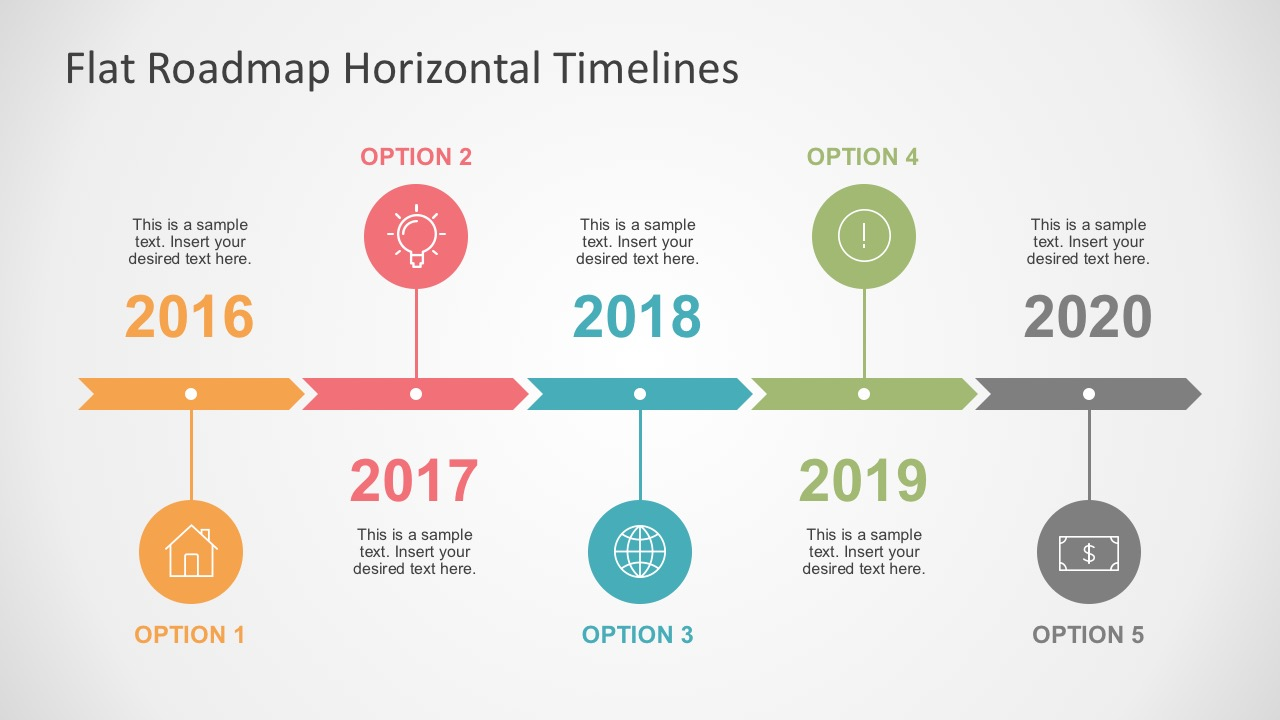 Flat roadmap horizontal timelines for powerpoint for High level project timeline template