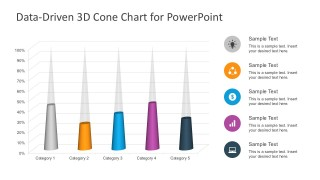 5 Category 3D Cone Diagram Free PowerPoint Slides