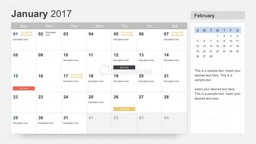 Free  Calendar For Powerpoint  Slidemodel