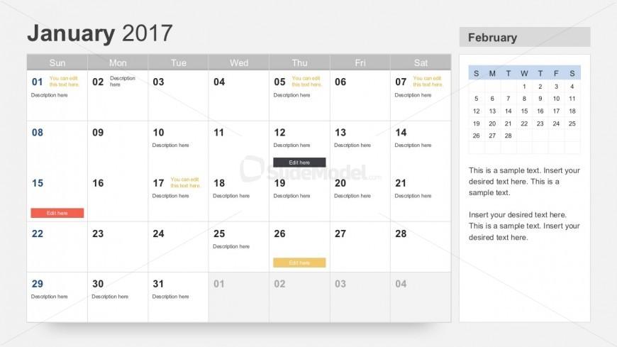 free 2017 calendar for powerpoint slidemodel