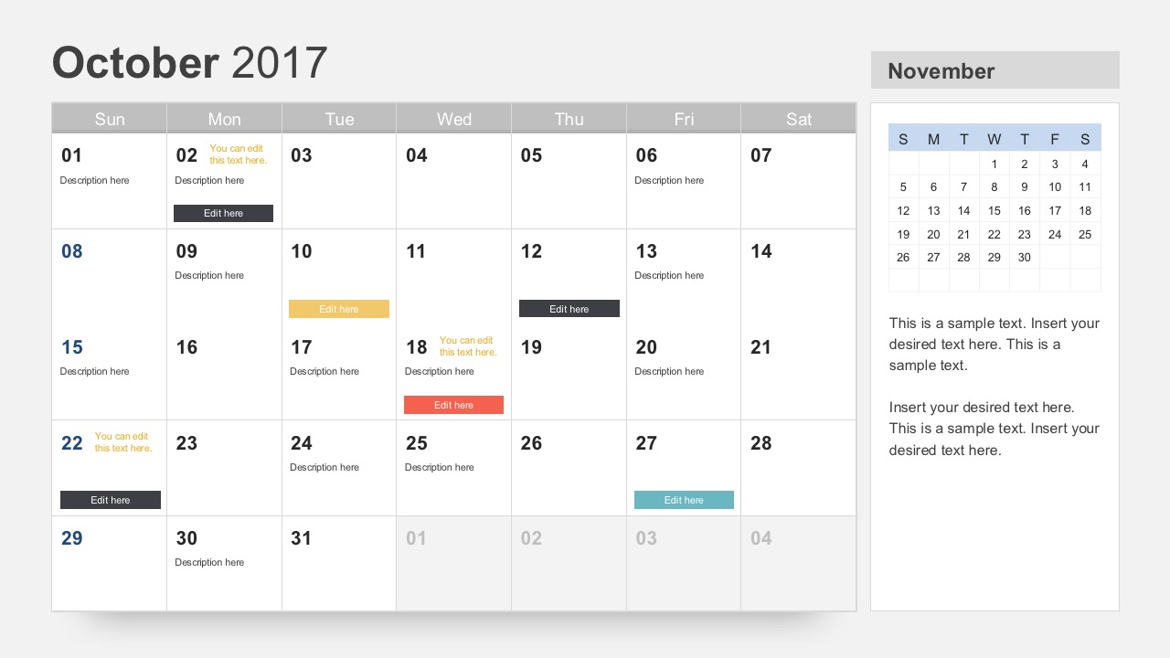 October 2017 Calendar PowerPoint Slides