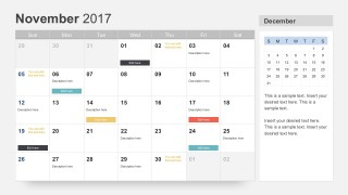 November 2017 Calendar PowerPoint Slides