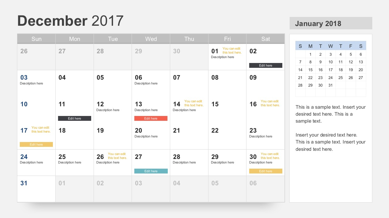 December 2017 Calendar PowerPoint Slides