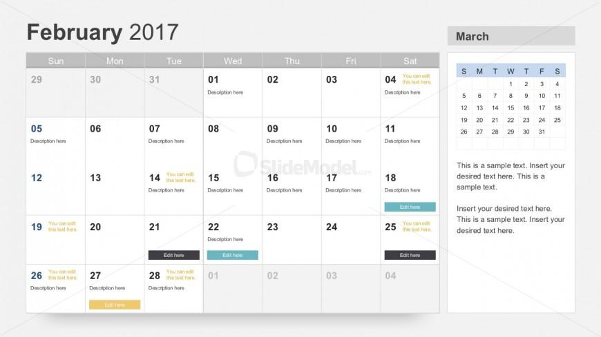 Free Project Calendar Planner 2017 Slidemodel
