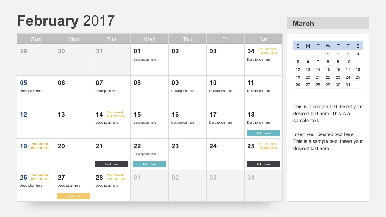 February 2017 Calendar PowerPoint Slides