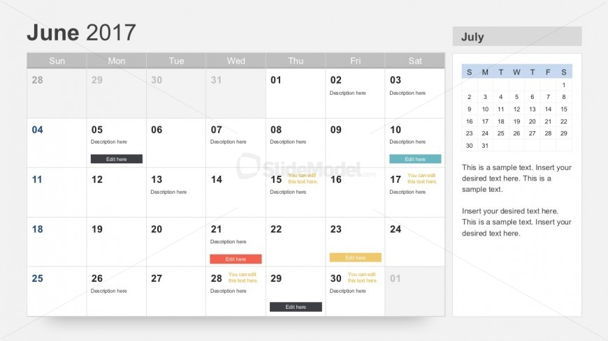 June 2017 Calendar PowerPoint Slides