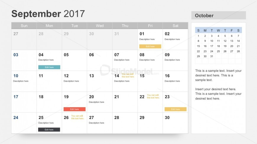 September 2017 Calendar PowerPoint Slides