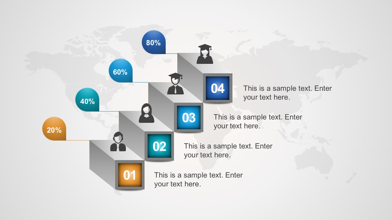 Free 4-Step 3D Process PowerPoint Diagrams