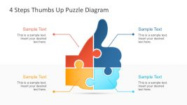 Free Thumbs Up Puzzle Diagram with 4 Steps