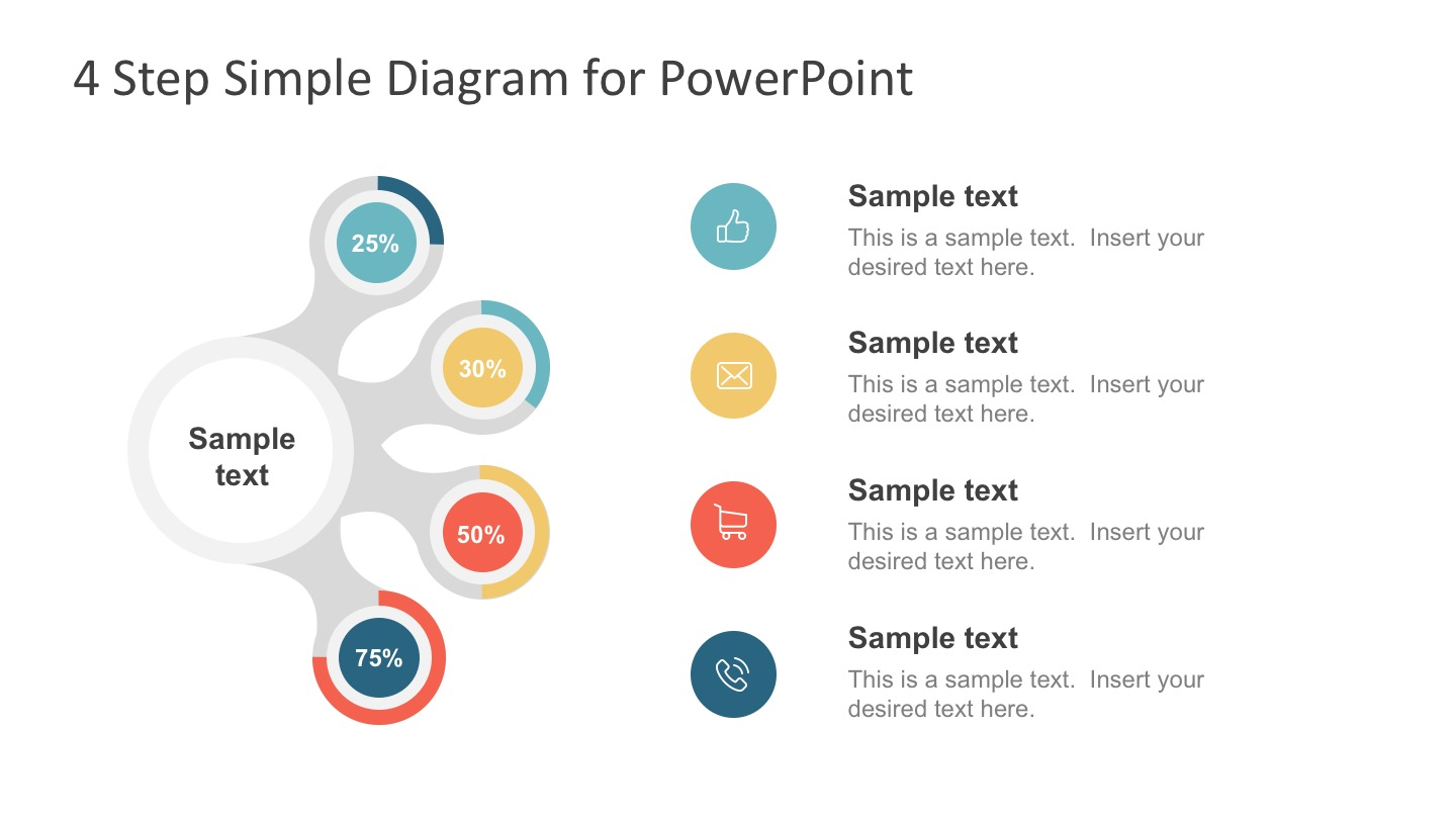 4 Step Simple Diagram design with Placeholders for PowerPoint