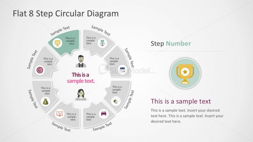 Flat 8- Step Circular Callout PowerPoint Diagram