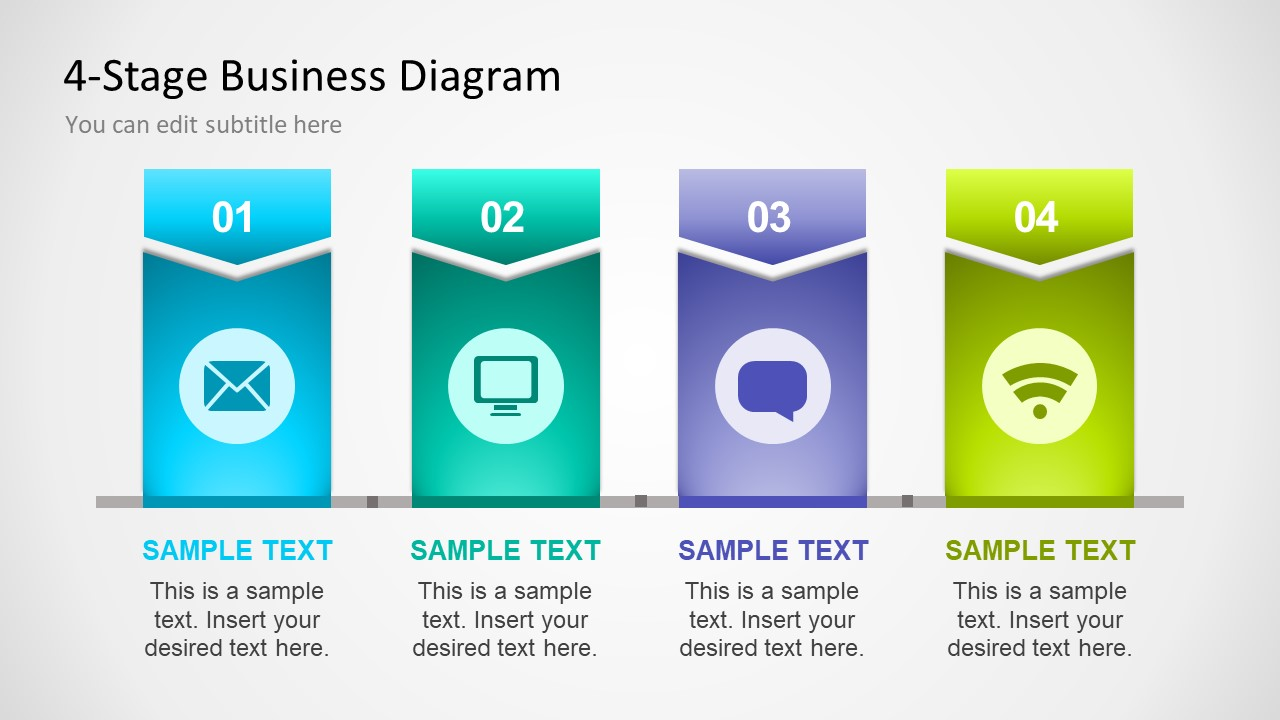 Color Gradient Arrow Shape Free Diagram