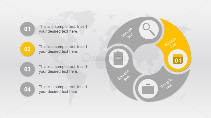 Circular PowerPoint Diagram of 4 Steps