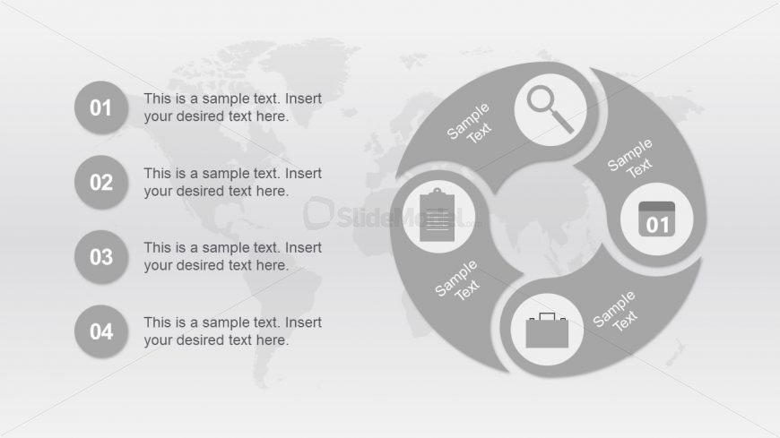 Circular Connected 4 Step PowerPoint Diagram Template
