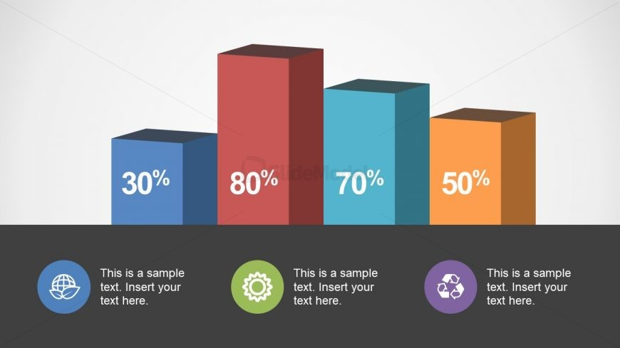 3D Bar Chart with Circular Infographics
