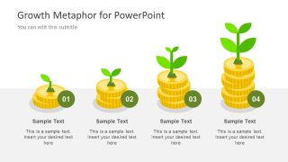 4 Step Graph of Gold Coins for Finances