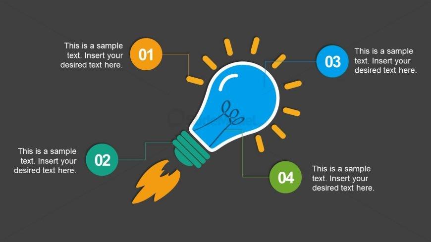 4 Infographic Segments of Lightbulb Slide