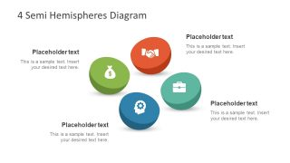 4 Semi Hemispheres Diagram for PowerPoint