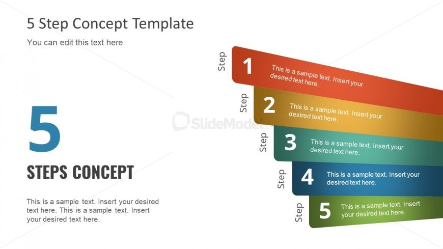 Diagram of 5 Steps PPT