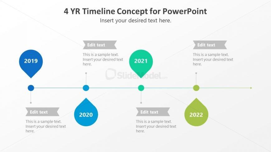 4 Steps Horizontal Timeline