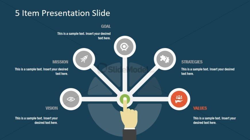Semi Circle for 5 Item Presentation