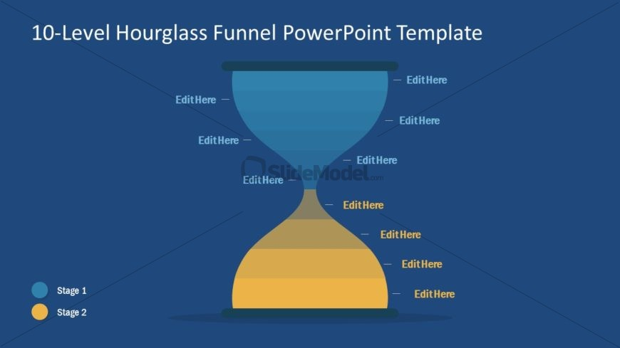 Funnel Diagram of Hourglass PowerPoint