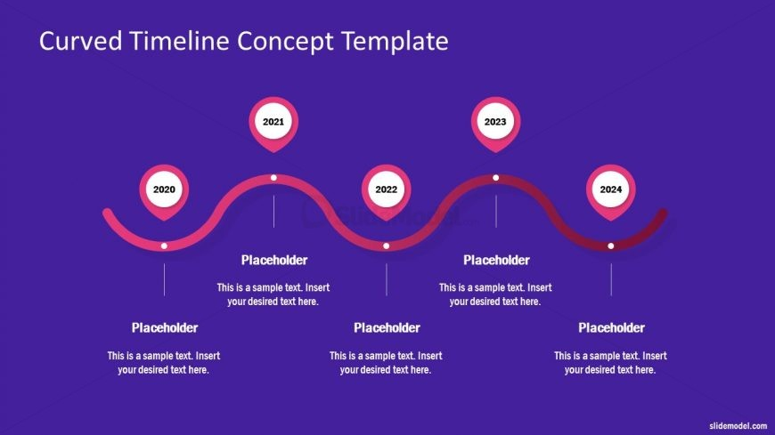 5 Steps Curved Timeline Design