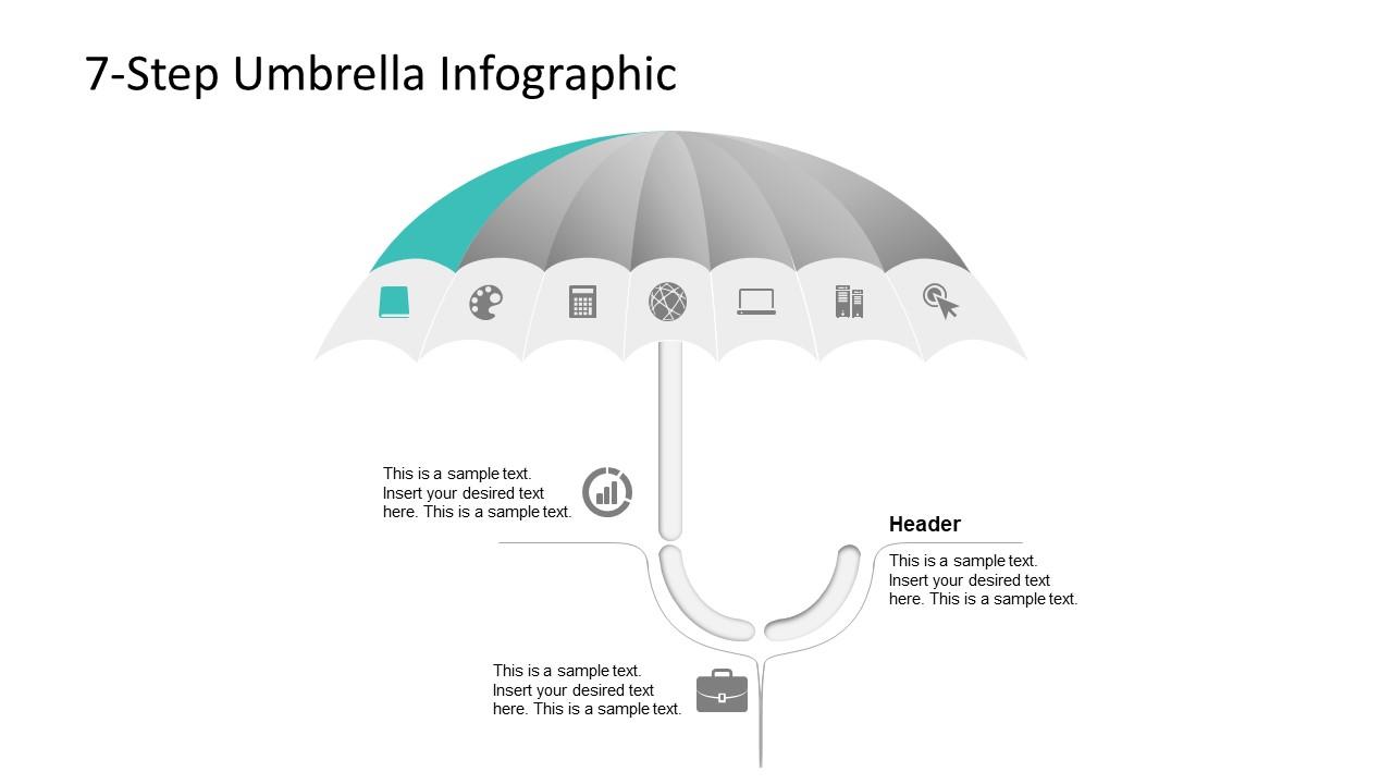 7 Steps Umbrella PowerPoint