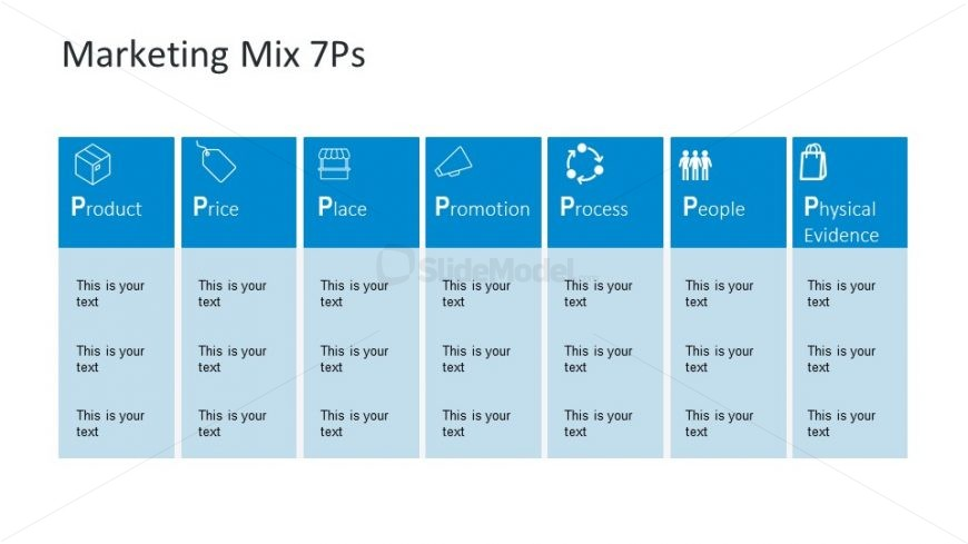 Table Format of 7 P's Marketing Mix