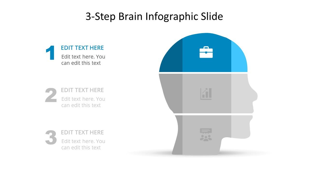 3 Steps Slide Diagram Human Head