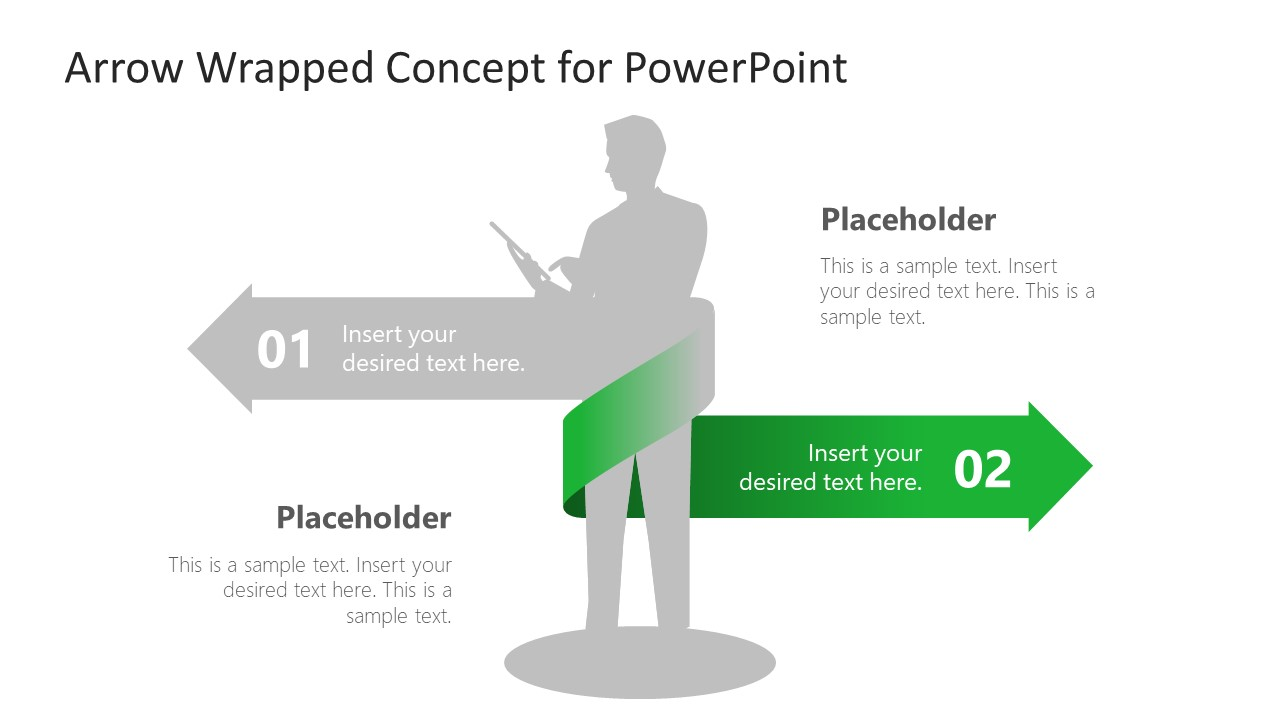 Silhouette Businessman PowerPoint 2 Wrapped Arrows