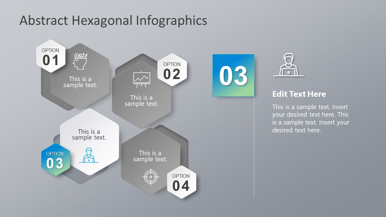 Diagram Template of 4 Hexagon PowerPoint Shapes