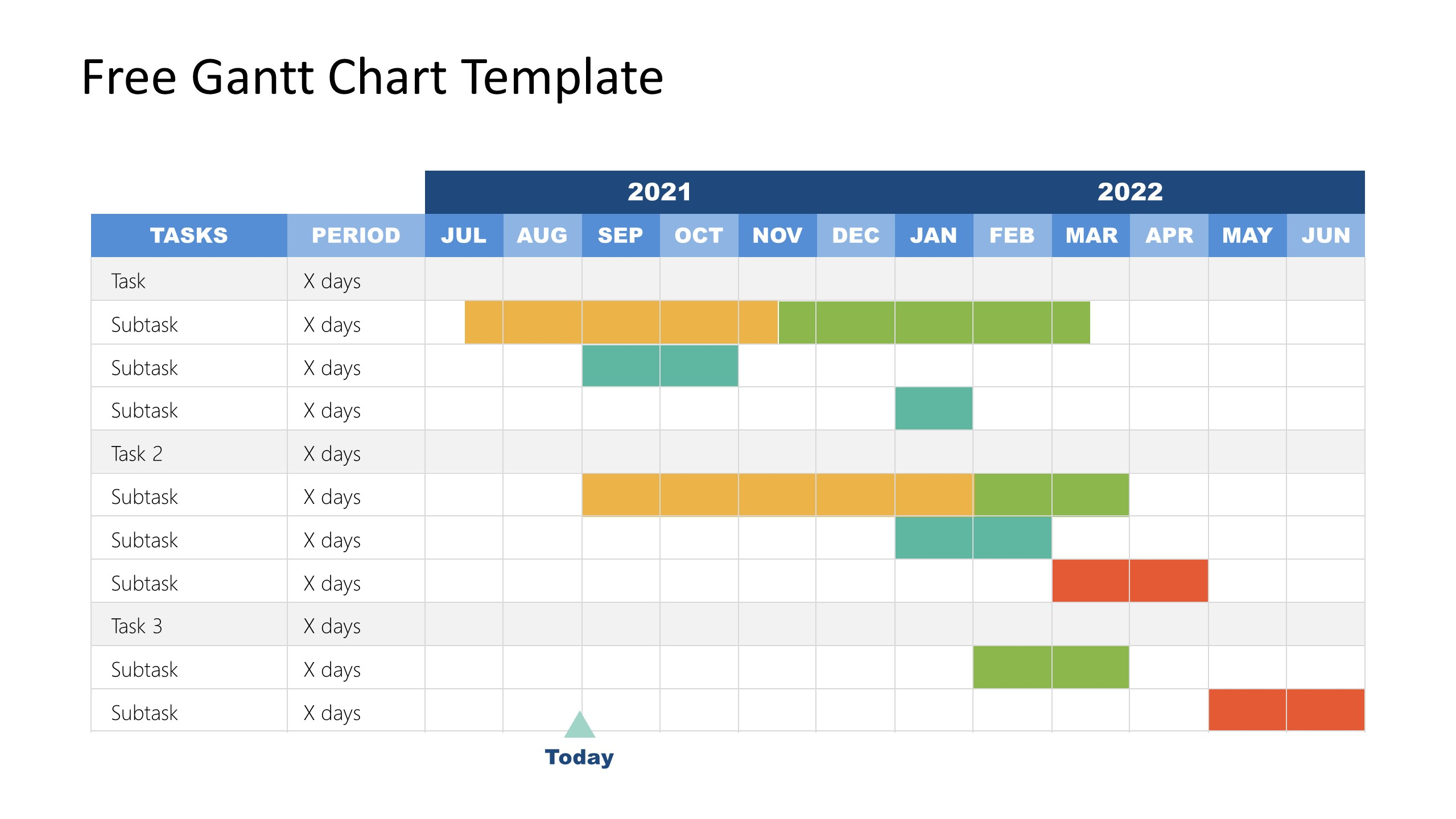 PPT Template of Gantt Chart for Year