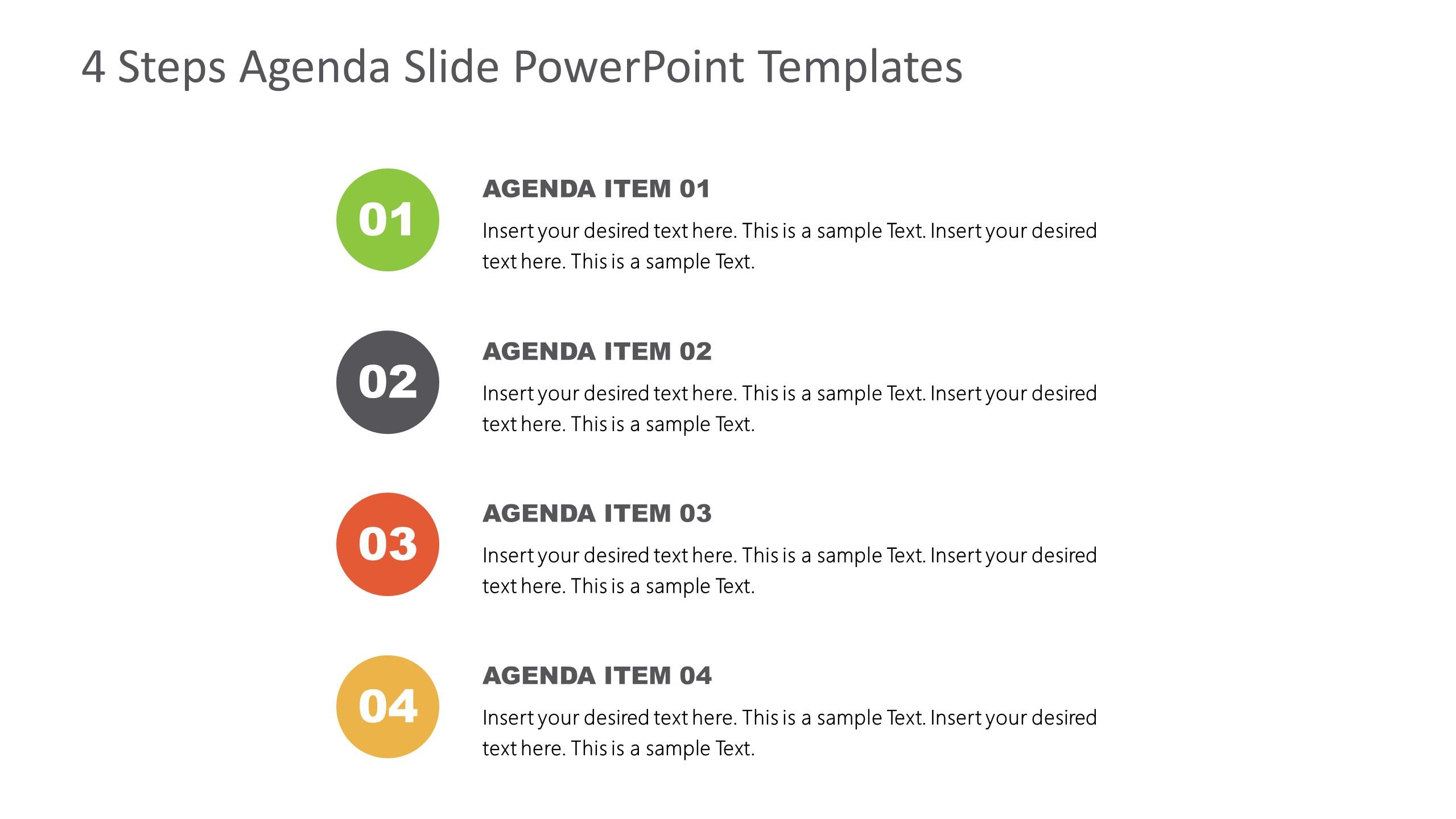 Agenda Presentation Template of 4 Items