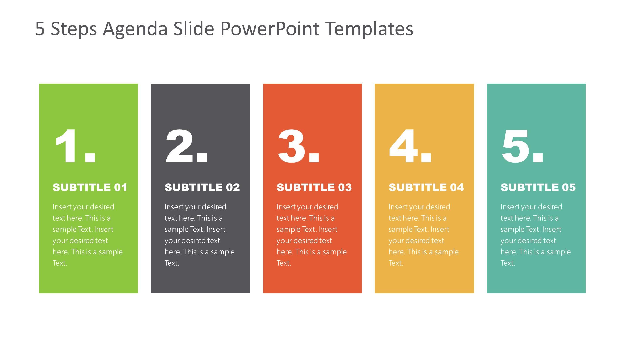 Agenda Presentation Template of 5 Items