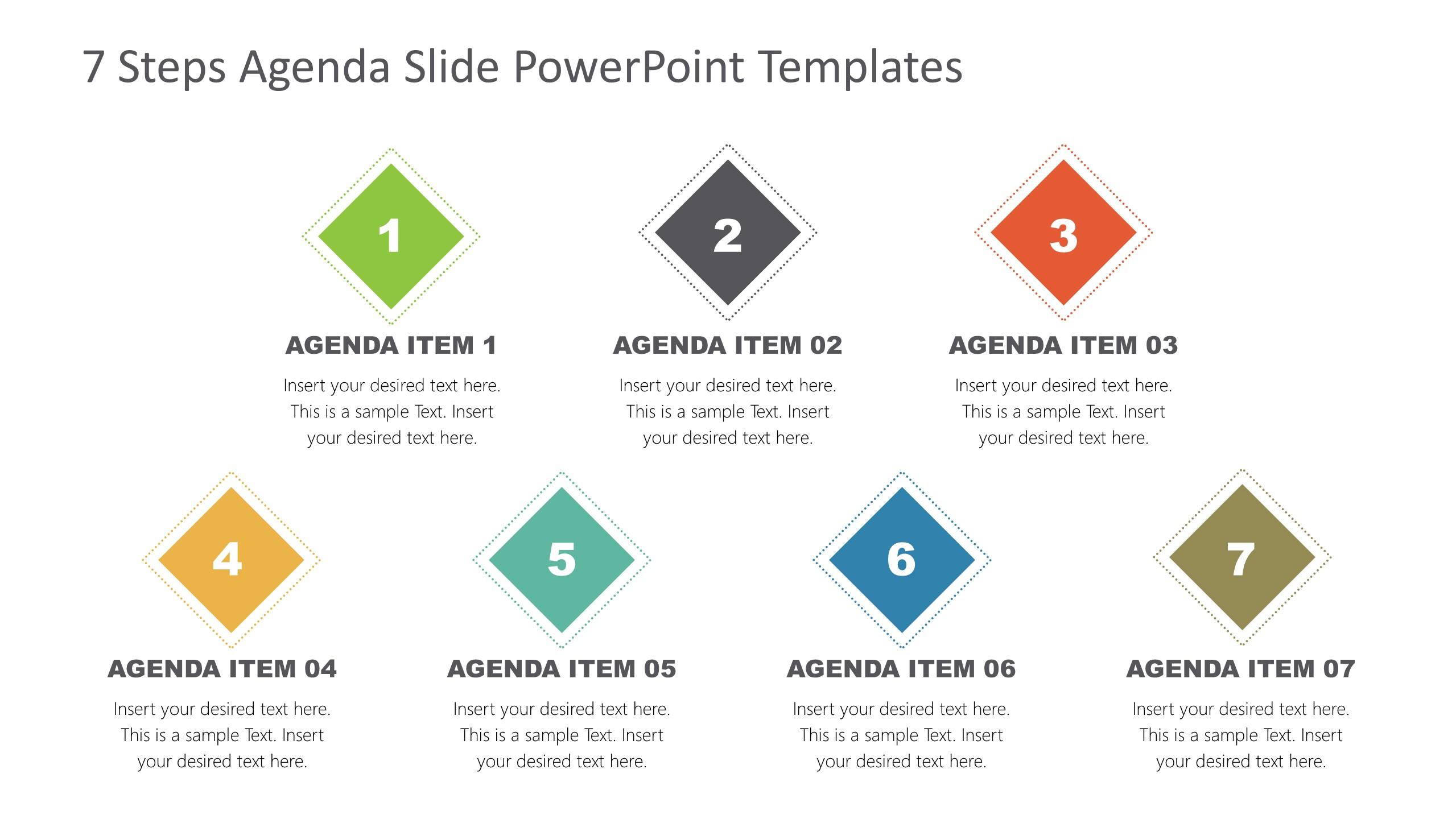 Agenda Presentation Template of 7 Items
