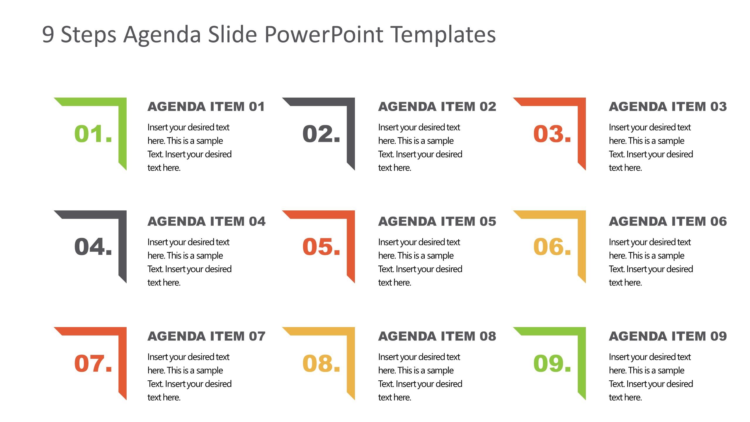 Agenda Presentation Template of 9 Items