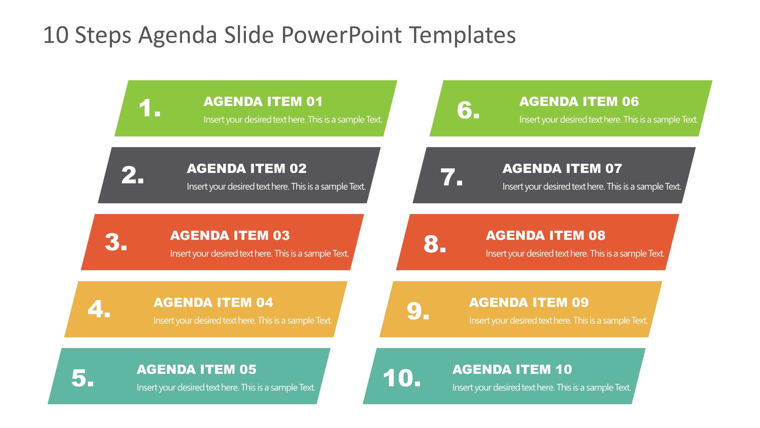 Agenda Presentation Template of 10 Items