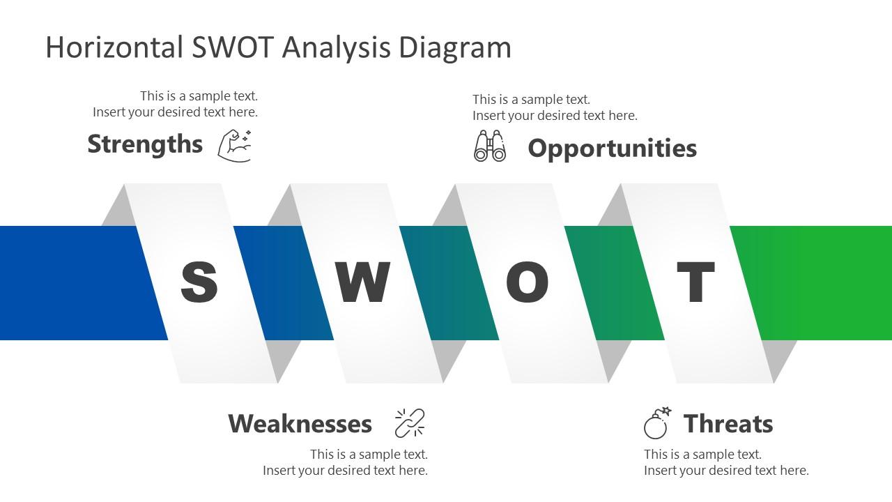 PowerPoint SWOT Analysis Horizontal Diagram