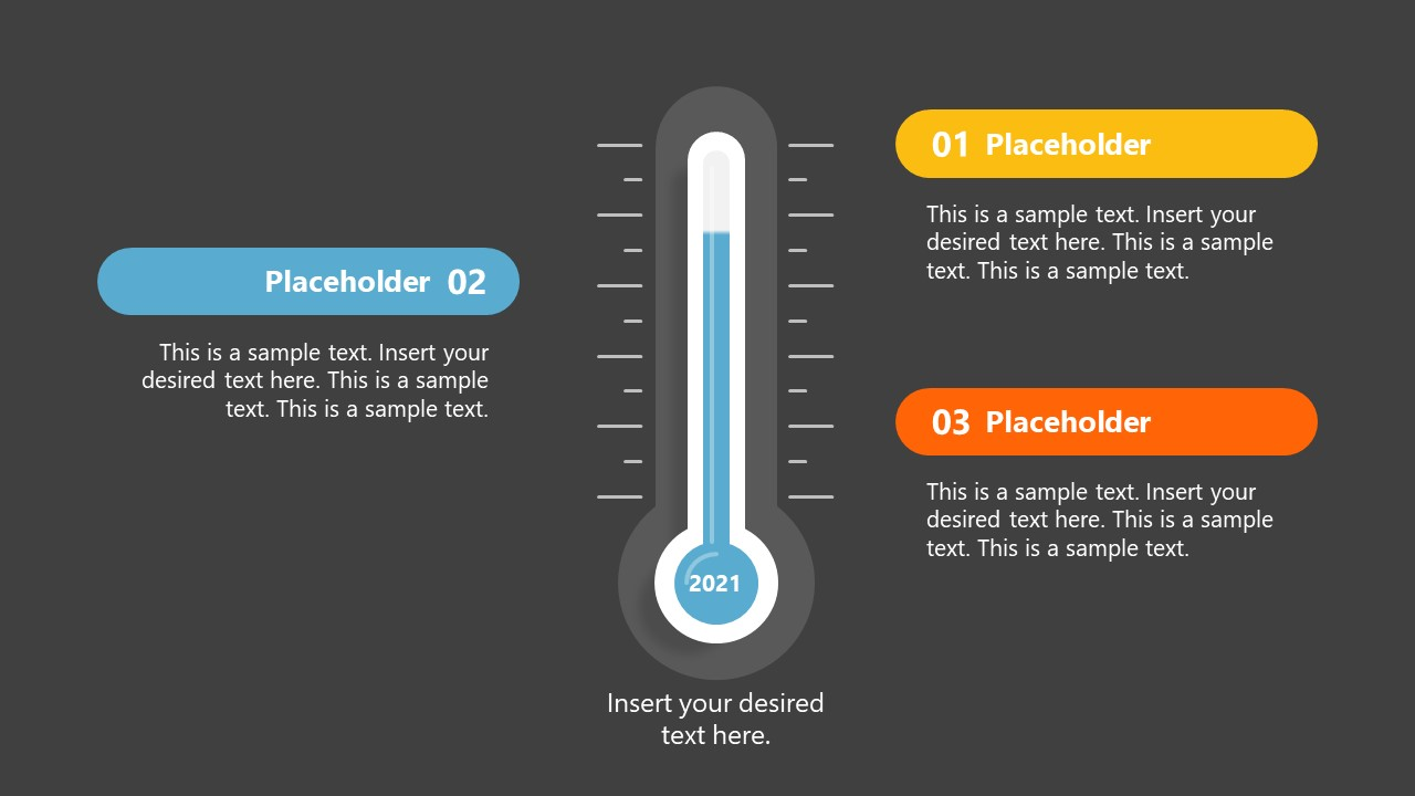 Template of Fundraising Thermometer 3 Steps Diagram