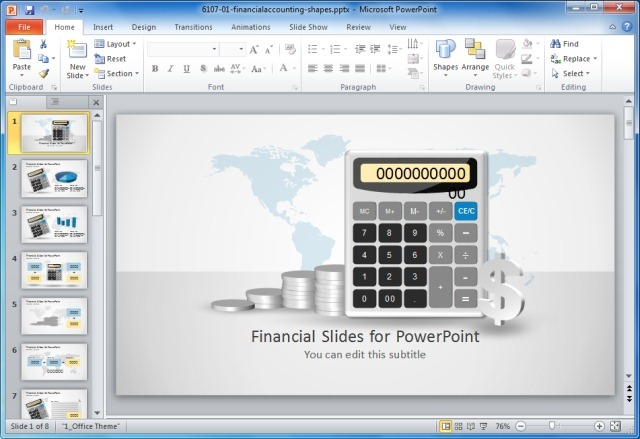 Financial PowerPoint Template with Calculator