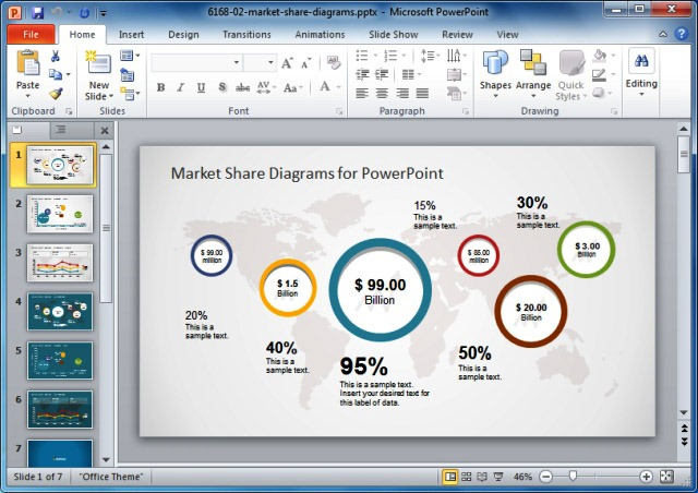 Global Market Share PowerPoint Template