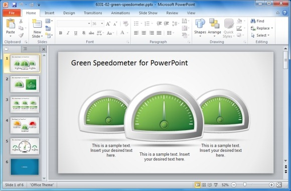 Green Speedometer for PowerPoint